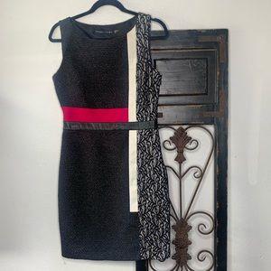 Ivanka Trump color block lace leather dress Sz 6